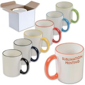 White ceramic mug with colored elements
