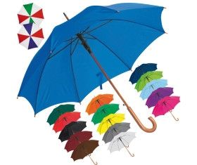 Automatic umbrella with wooden handle and wooden tip