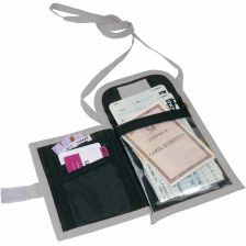 Polyester 600D neck travel wallet with phone pocket,  and belt loop.