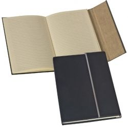 Rubberized A5 notebook with a metal stripe.