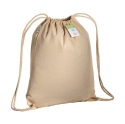 Organic cotton drawstring bag with reinforced corners