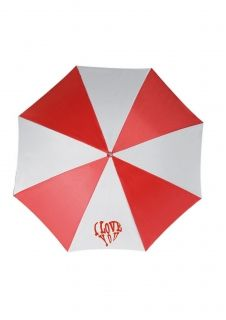 Printed umbrella with full color image on white sector