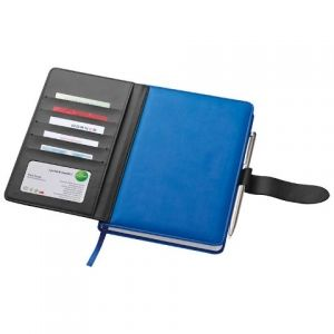 Notebook with business card compartments