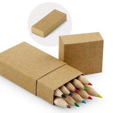 Cardboard box with coloured pencils