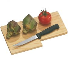 Wooden cutting board with knife