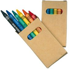 Crayons in cardboard box
